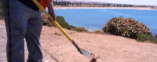 worker with spade at the side of the road