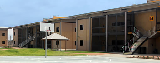 external prison unit building and yard
