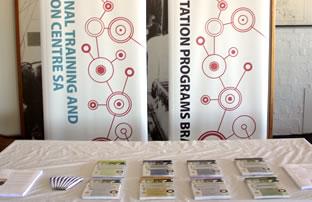 Brochures on display on a table