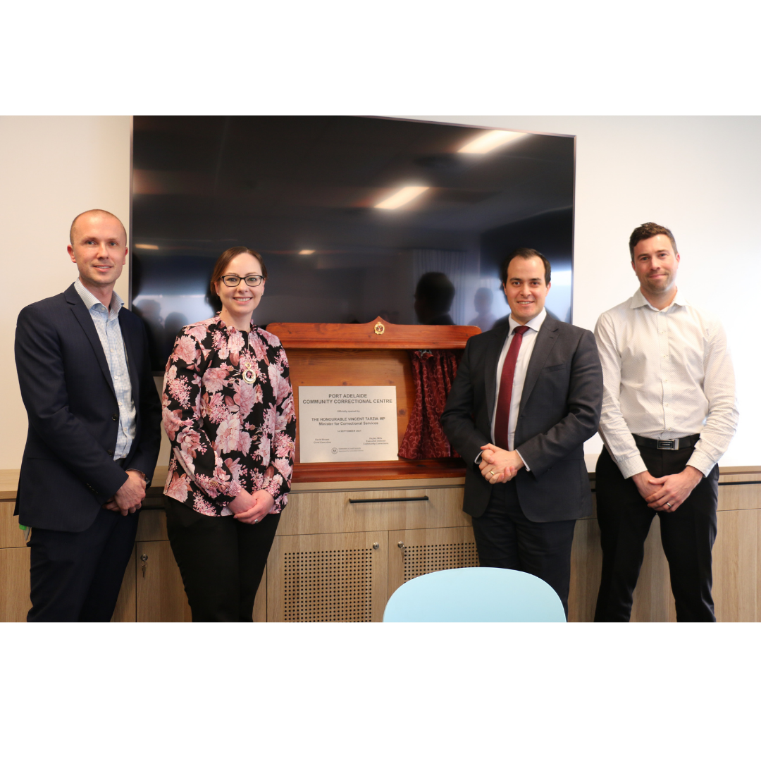 DCS Regional Director Ryan Harber, Executive Director Hayley Mills, Minister for Correctional Services Vincent Tarzia and Area Manager Jeremy Rowlands at the Port Adelaide Community Correctional Centre opening.